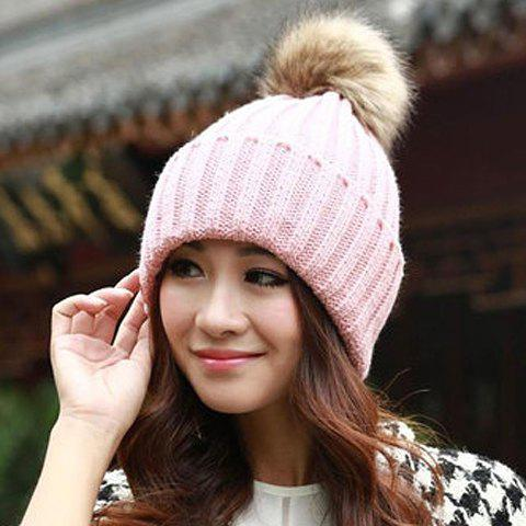 Sale Fuzzy Ball Knitted Winter Toboggan Hat - ONE SIZE COLOR ASSORTED Mobile