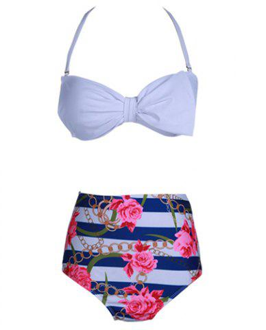 Sale Cute Halter Floral Print High-Waisted Bikini Set For Women