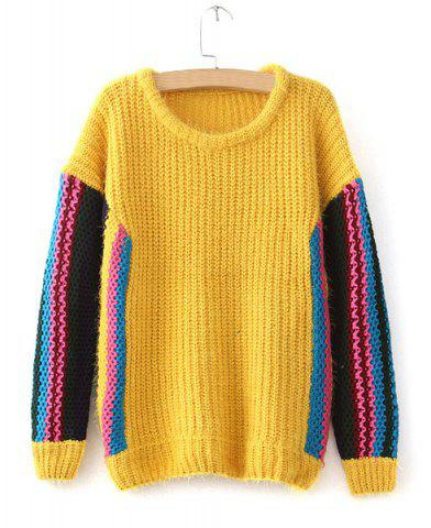 Outfits Casual Style Long Sleeve Scoop Collar Striped Color Block Women's Sweater