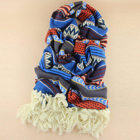 Fancy Cute Tassels Design Color Splicing Knitted Scarf For Women BLUE