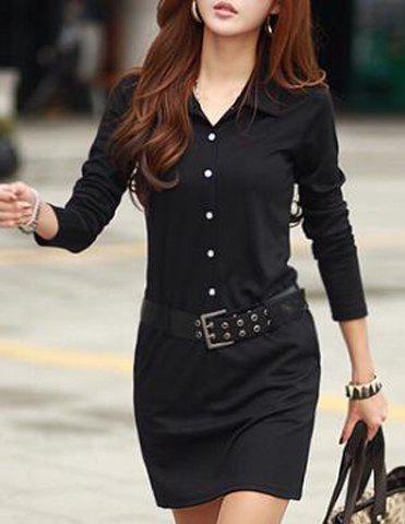 Casual Turn-Down Colllar Solid Color Long Sleeve Women's Dress - BLACK ONE SIZE