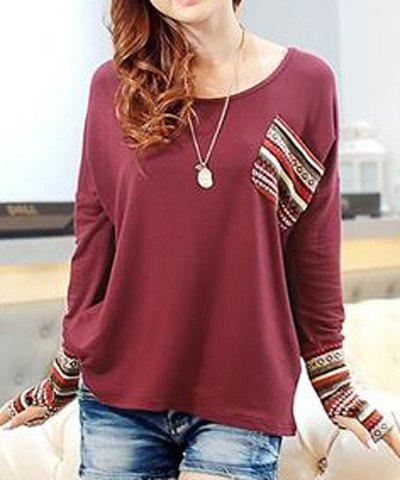 Fashion Casual Scoop Neck Long Sleeves Striped Splicing T-Shirt For Women