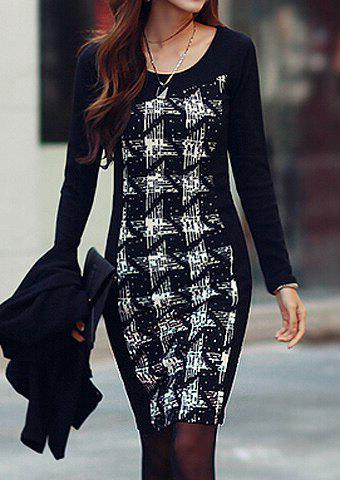 Outfit Stylish Scoop Neck Long Sleeves Printed Dress For Women