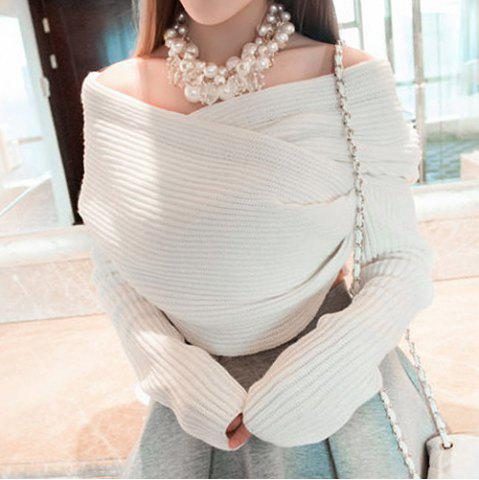 Fancy Stylish Long Sleeves Solid Color Asymmetric Sweater For Women