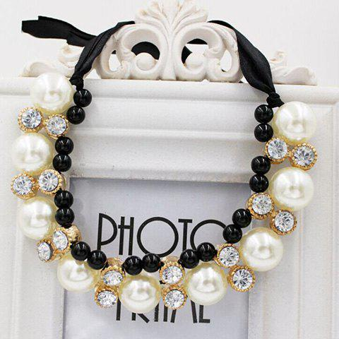 Discount Gorgeous Chic Style Pearl and Rhinestone Decorated Black Ribbon Necklace For Women - COLOR ASSORTED  Mobile