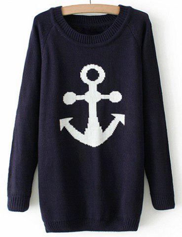 Shop Casual Style Scoop Collar Anchor Jacquard Long Sleeve Women's Sweater - S BLACK Mobile