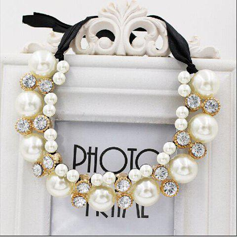 Shop Gorgeous Chic Style Pearl and Rhinestone Decorated Black Ribbon Necklace For Women - COLOR ASSORTED  Mobile