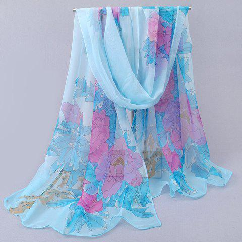 Online Elegant Colorful Peony Printed Chiffon Scarf For Women