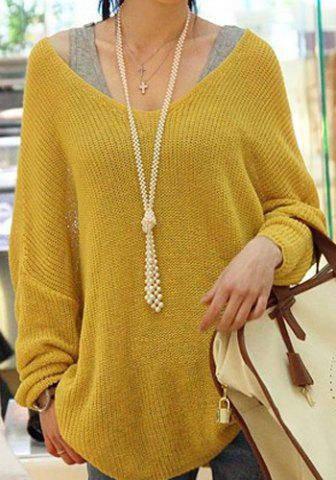 Fancy Stylish V-Neck Loose-Fitting Dolman Sleeve Sweater For Women YELLOW ONE SIZE
