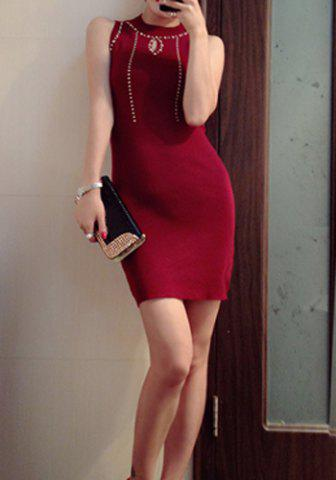 Buy Sexy Round Collar Rivet Embellished Bodycon Knitted Sleeveless Women's Dress