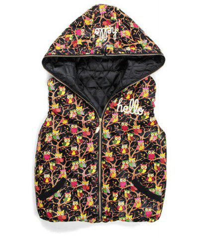Fancy Vintage Night Owl Printed Zippered Hooded Cotton Vest For Women