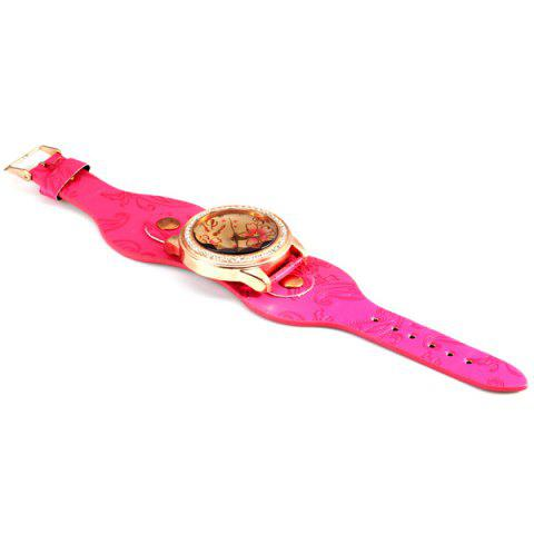 Womage 9965-3 Quartz Watch with Diamond Flower Leather Watchband for Women от Rosegal.com INT