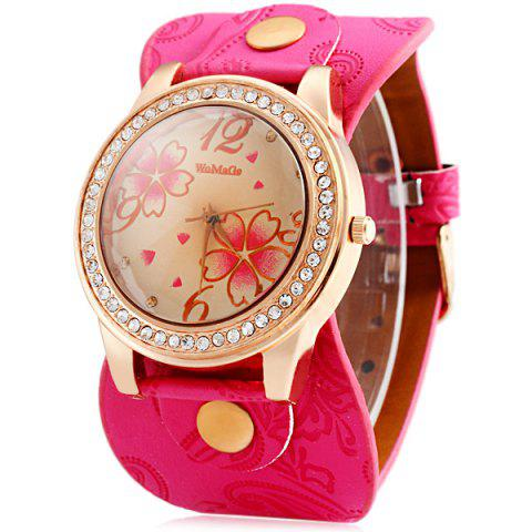 Chic Womage 9965-3 Quartz Watch with Diamond Flower Leather Watchband for Women