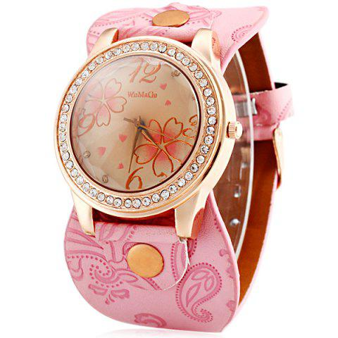 Hot Womage 9965-3 Quartz Watch with Diamond Flower Leather Watchband for Women