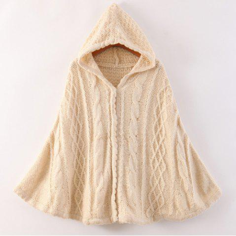 Cheap Stylish Hooded Solid Color Cable Knit Hollow Out Long Sleeve Knitted Cloak For Women