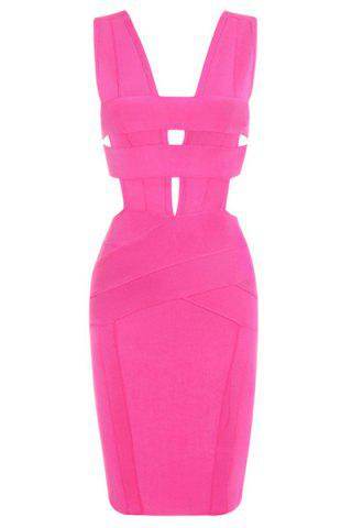 Sale Sexy Plunging Neck Sleeveless Hollow Solid Color Bodycon Women's Bandage Dress