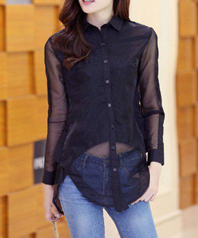 Cheap Fashionable Turn-Down Collar Organza Splicing Long Sleeve Women's Blouse