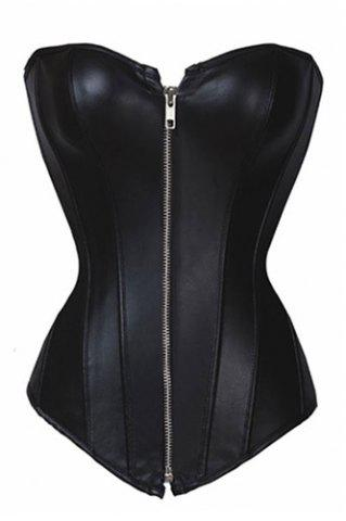 Hot Gothic Solid Color Zippered Faux Lenther Corset For Women