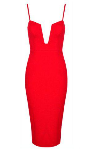 Store Sexy Spaghetti Strap Solid Color Bodycon Dress For Women - XS RED Mobile