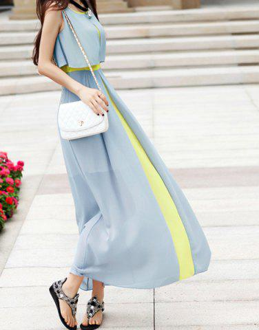 Outfits Sleeveless Scoop Neck High Waistline Stitching Cape-style Ladylike Women's Dress - S LIGHT GREEN Mobile