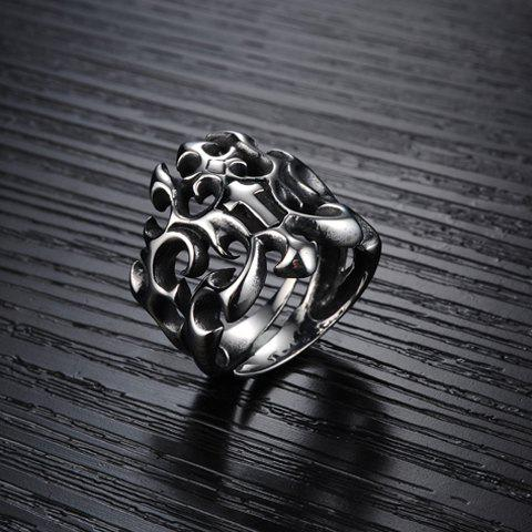 Discount Stylish Solid Color Openwork Ring For Men - ONE-SIZE SILVER Mobile