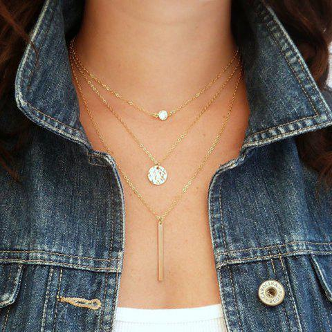 Multi Layered Round and Coin and Column Bar Shape Necklace