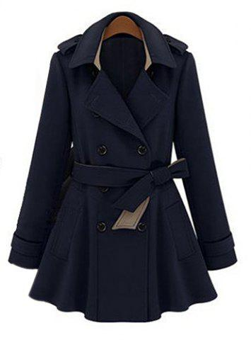 Fashionable Lapel Neck Double-Breasted Solid Color Slimming Women's Trench Coat