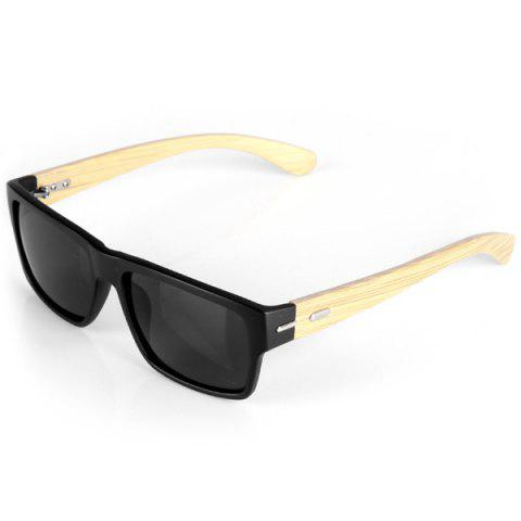 Fancy Classic Protection Sunglasses for Outdoor Activities Wooden Legs Quadrate Frame Black PC Lens with Zippered Box