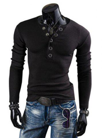 Buy Stylish Round Neck Slimming Solid Color Button Design Long Sleeve Polyester T-Shirt For Men BLACK L
