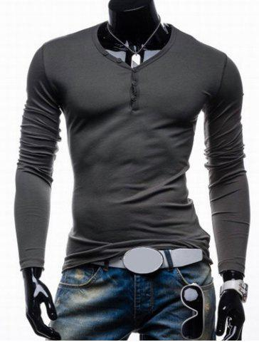 Best Long Sleeves Plain V Neck Button T Shirts