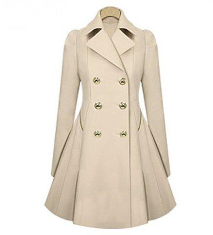 Hot Casual Turn-Down Collar Solid Color Double-Breasted Long Sleeve Women's Coat - S APRICOT Mobile