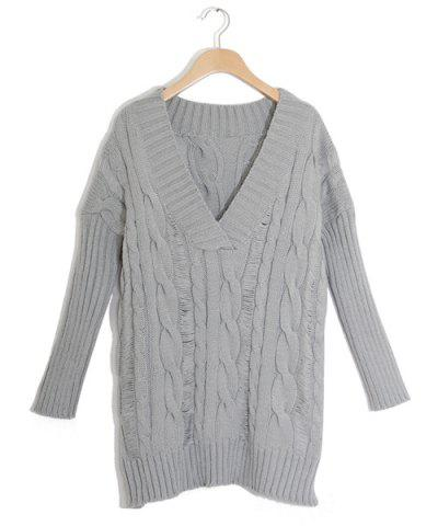 Outfits Oversized Cable Knit Slouchy Jumper Dress - ONE SIZE(FIT OUR SIZE) GRAY Mobile