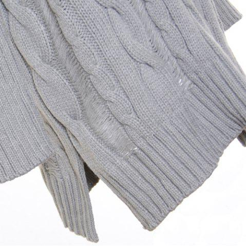 Shop Oversized Cable Knit Slouchy Jumper Dress - ONE SIZE(FIT OUR SIZE) GRAY Mobile