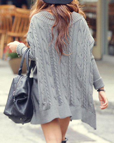 Discount Oversized Cable Knit Slouchy Jumper Dress - ONE SIZE(FIT OUR SIZE) GRAY Mobile