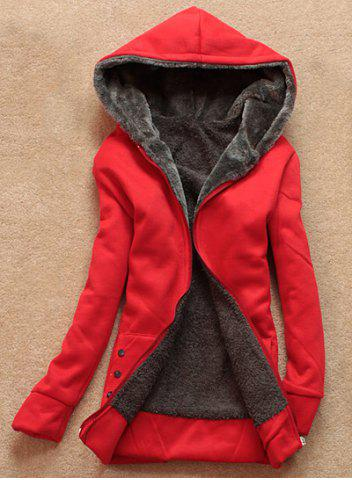 Store Stylish Long Sleeves Solid Color Flocking Hooded Hoodie For Women RED ONE SIZE