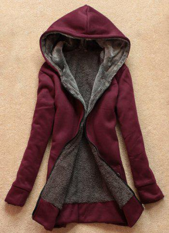 Shop Stylish Long Sleeves Solid Color Flocking Hooded Hoodie For Women - ONE SIZE WINE RED Mobile