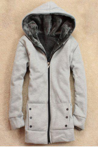 Hot Stylish Long Sleeves Solid Color Flocking Hooded Hoodie For Women LIGHT GRAY ONE SIZE