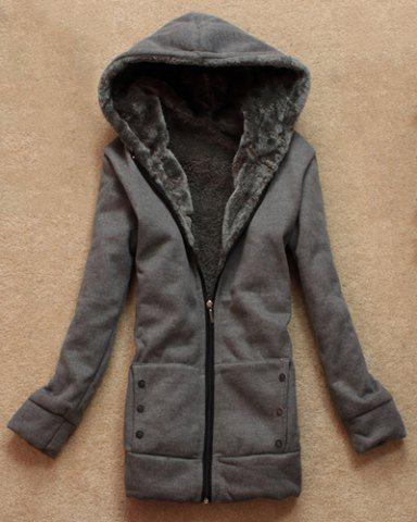 Affordable Stylish Long Sleeves Solid Color Flocking Hooded Hoodie For Women - ONE SIZE DEEP GRAY Mobile