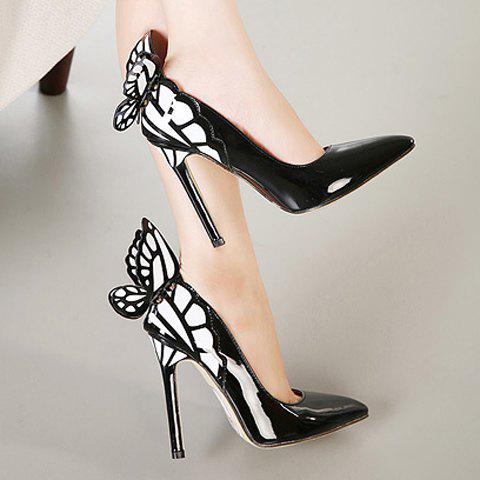 Fashion Gorgeous Butterfly and Point Toe Design Women's Pumps - 39 BLACK Mobile