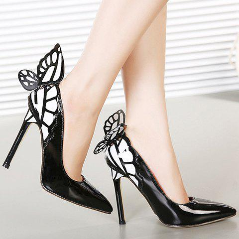 Fashion Gorgeous Butterfly and Point Toe Design Women's Pumps - 40 BLACK Mobile