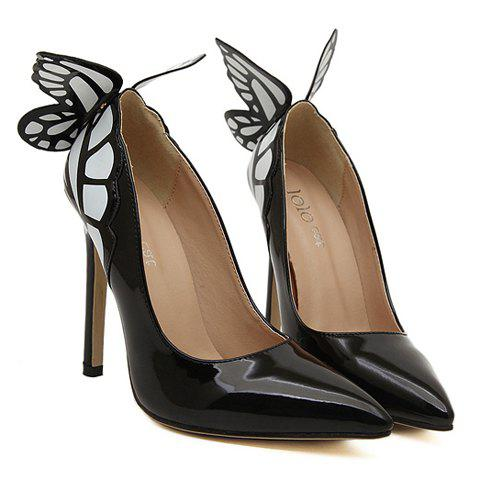 Fancy Gorgeous Butterfly and Point Toe Design Women's Pumps - 40 BLACK Mobile