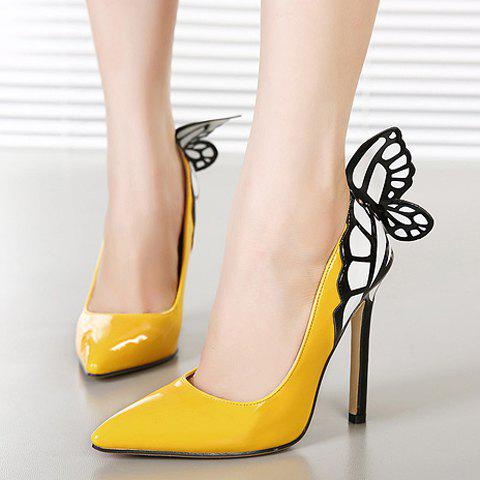 Outfit Gorgeous Butterfly and Point Toe Design Women's Pumps - 36 YELLOW Mobile