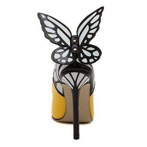Hot Gorgeous Butterfly and Point Toe Design Women's Pumps - 36 YELLOW Mobile
