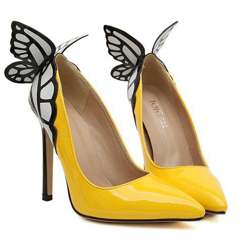 Online Gorgeous Butterfly and Point Toe Design Women's Pumps - 38 YELLOW Mobile