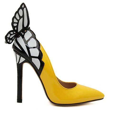 Best Gorgeous Butterfly and Point Toe Design Women's Pumps - 38 YELLOW Mobile