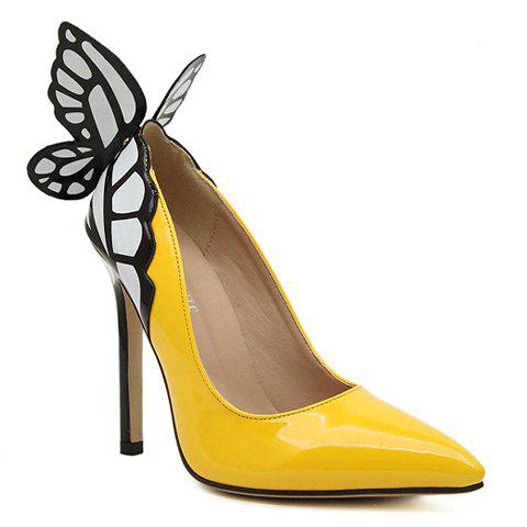 Hot Gorgeous Butterfly and Point Toe Design Women's Pumps - 38 YELLOW Mobile