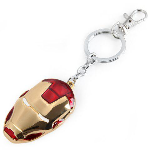 Sale Iron Man Head Mask Pendant Brass Belt Key Chain - RED  Mobile
