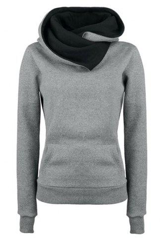 Hot Casual Style Loose-Fitting Solid Color Long Sleeve Women's Hoodie GRAY S