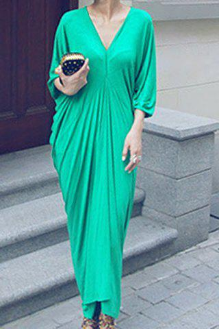 Buy Casual Plunging Neck Batwing Sleeve Ruffled Maxi Dress GREEN ONE SIZE