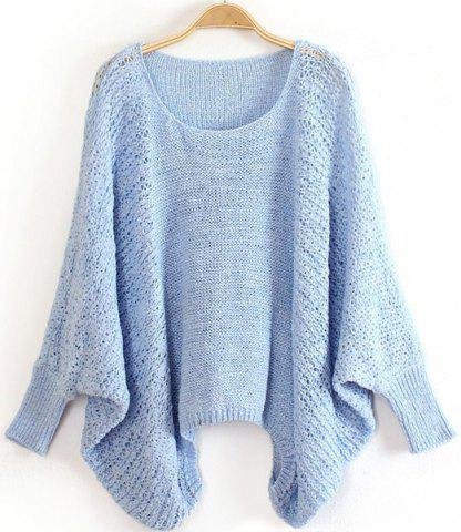Dolman Sleeve Loose-Fitting Sweater - Light Blue - One Size